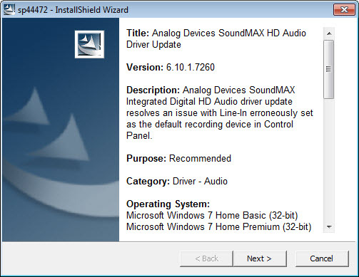 Soundmax Integrated Digital HD Audio Driver