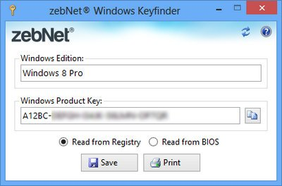zebNet Windows Keyfinder 6.1.0.0 Free Download